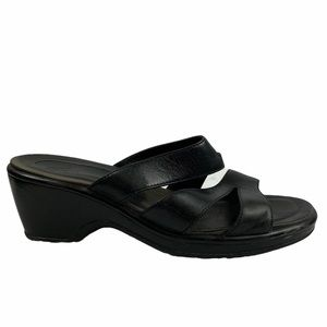 Dansko Black Strappy Slide Sandals With Heel sz 38